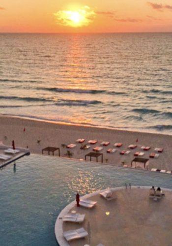 Coucher de soleil à Cancún depuis l'hôtel Bel Air
