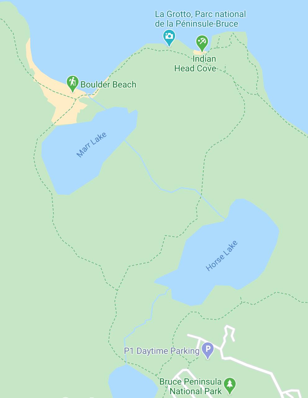 La Grotto péninsule de bruce - carte google
